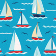 Vector pattern with colorful sailboats on the sea