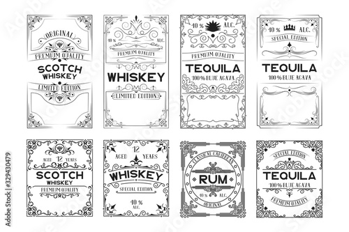 Set of scotch whiskey, tequila, rum labels Wallpaper Mural