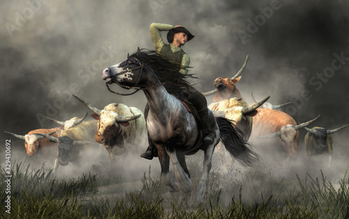 Fotografie, Obraz In the American Wild West, a cowboy on horseback rides for his life