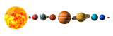 Planets of the solar system with Pluto, 3D rendering