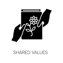 Shared Values Black Glyph Icon...