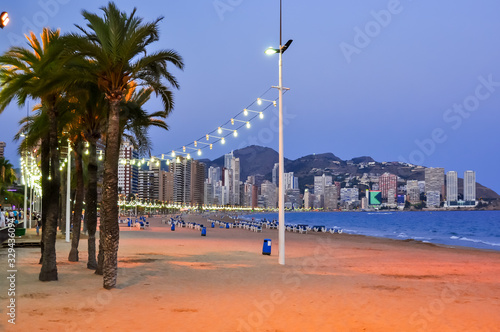 Levante beach in Benidorm at night, Costa Blanca, Spain