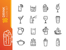 Drink And Alcohol Line Icons V...