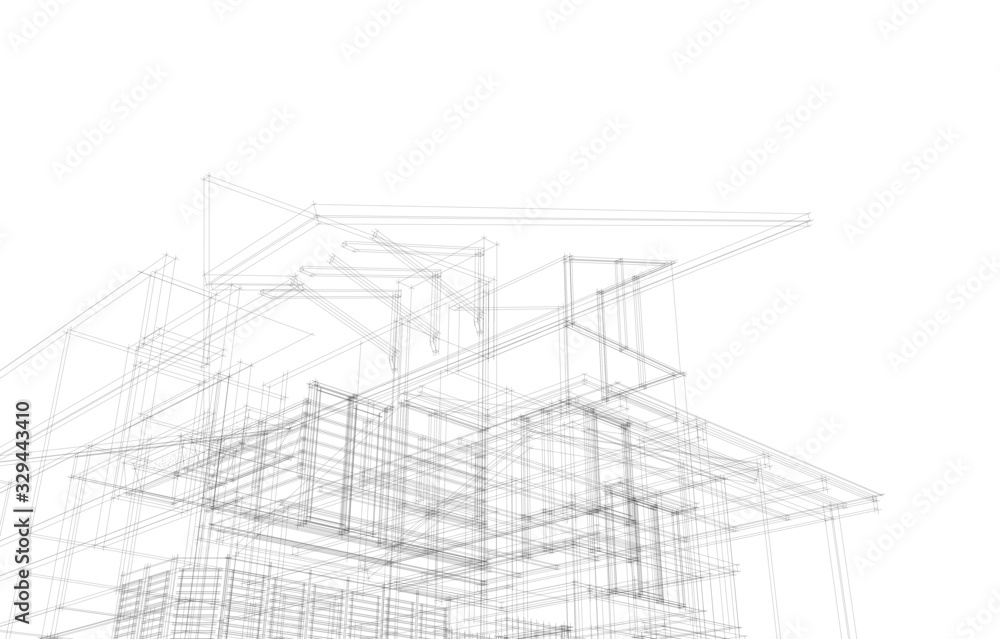 Fototapeta Modern architecture building 3d