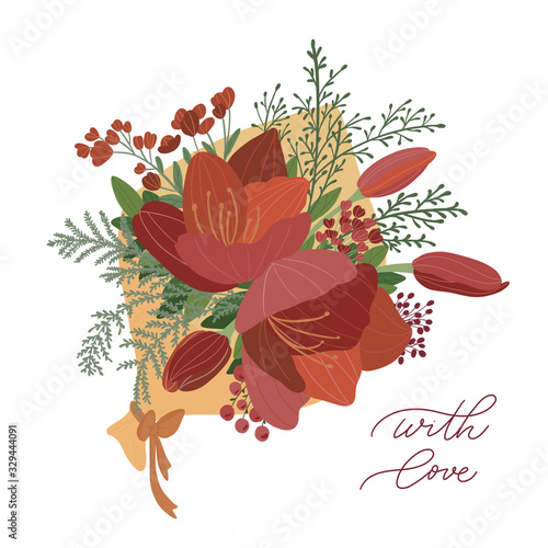 Cartoon wedding bouquet of flowers from red tulips, roses, peonies Wallpaper Mural