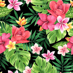 Panel Szklany Egzotyczne Seamless floral pattern of tropical flowers and leaves. Botanical wallpaper illustration in Hawaiian style