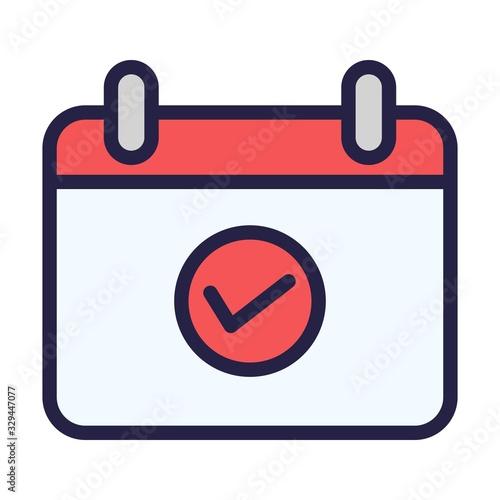 Photo Calendar with checkmark sign icon