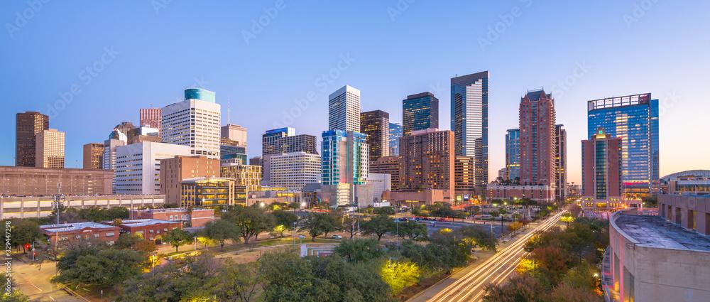 Fototapeta Houston, Texas, USA downtown park and skyline