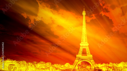 Paris and the Eiffel Tower on fire, symbolic of global warming and the end of th Wallpaper Mural