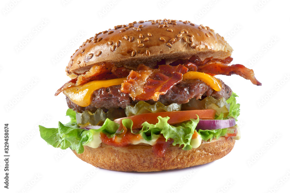 Fototapeta cheeseburger with bacon on a white background