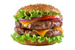 canvas print picture - double cheeseburger on a white background