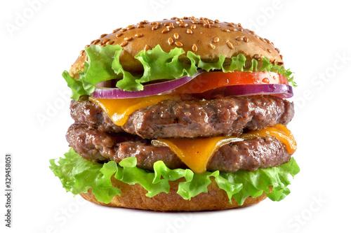 Fototapeta double cheeseburger on a white background obraz