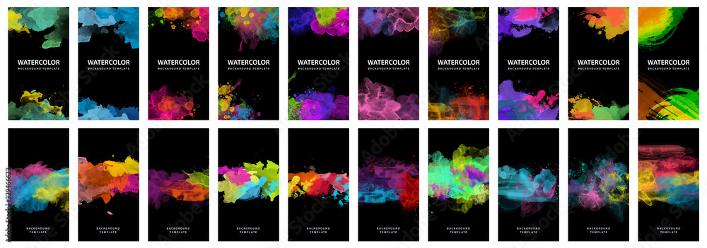 Fototapeta Big set of bright vector colorful watercolor on black background for poster, brochure or flyer