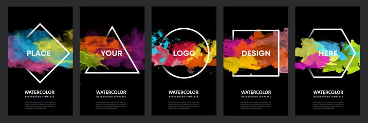 Watercolor black background over geometric frame vector design headline, logo and sale banner template set