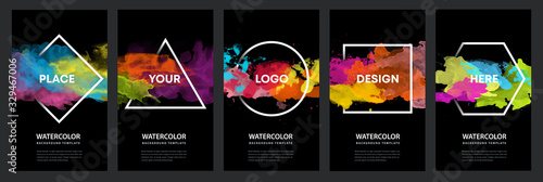 Obraz Watercolor black background over geometric frame vector design headline, logo and sale banner template set - fototapety do salonu