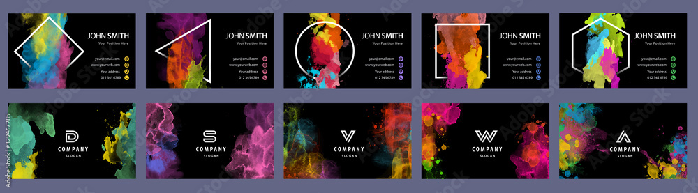 Fototapeta Big set of bright colorful business card template with vector watercolor black background
