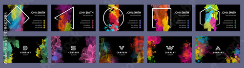 Big set of bright colorful business card template with vector watercolor black b Slika na platnu