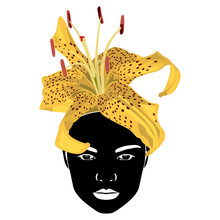 Isolated Vector Illustration. Silhouetted Female Face With Yellow Tiger Lily As Hair Or Hat. Creative Concept.