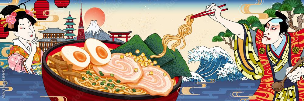 Ukiyo-e style ramen ads