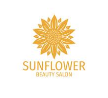 Yellow Sunflower Vector Logo Design Concept In White Background