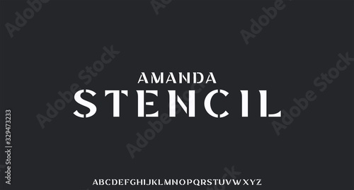 amanda stencil, luxury font with stencil style Canvas Print