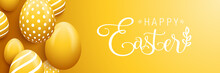 Happy Easter Eggs Banner Backg...