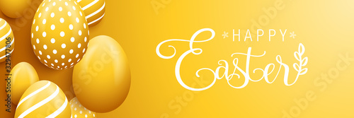 Happy easter eggs banner background card Canvas Print