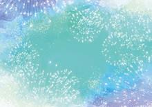花火:花火 花火大会 火花 風物詩 8月 フレーム 枠 水彩 イベント 年中行事
