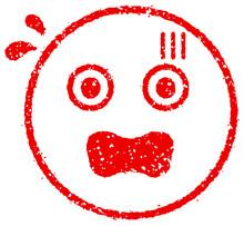 Cartoon Face Rubber Stamp Vector Illustration / Upset, Impatience