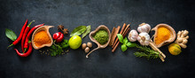 Various Herbs And Spices On Da...