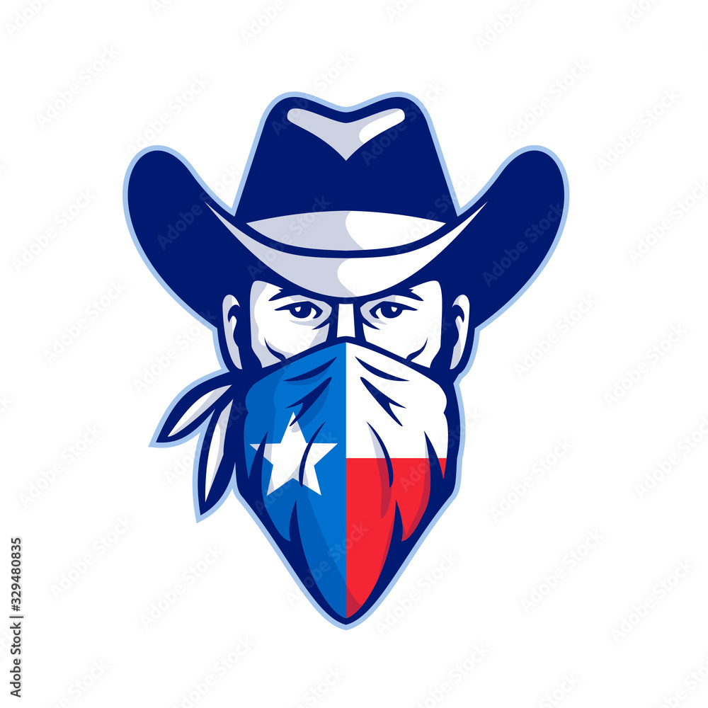 Fototapeta Mascot icon illustration of head of Texan bandit, outlaw or highwayman wearing cowboy hat and bandana, kerchief or bandanna with Texas Lone Star flag front view on isolated background in retro style.