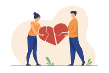 Couple Mending Broken Pieces Of Heart. Young Man And Woman Holding Red Heart Shape With Cracks. Vector Illustration For Love, Relationship, Problem, Breakup Concept