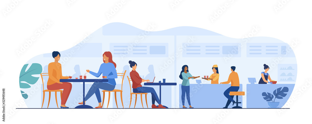Fototapeta People eating in food court cafeterias. Cartoon characters sitting at cafe tables and having lunch or dinner. Vector illustration for restaurant interior, catering, shopping mall concept