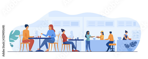 People eating in food court cafeterias. Cartoon characters sitting at cafe tables and having lunch or dinner. Vector illustration for restaurant interior, catering, shopping mall concept - 329493648