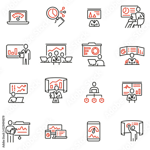 Photo Vector set of linear icons related to gathering, analytics information, development statistic, expertise and consulting