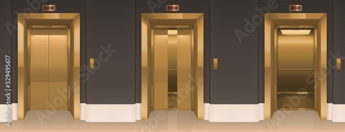 Photo Golden lift doors