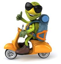Fun Turtle Traveling - 3D Illustration