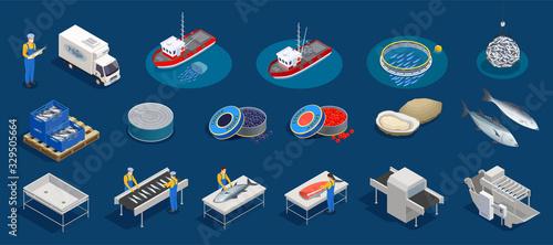 Canvastavla Isometric Seafood Production Set