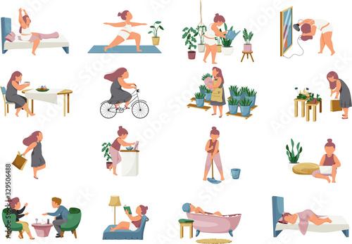 Fototapeta Woman Routine Icons Collection obraz