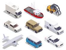 Transport Vehicles Isometric Set