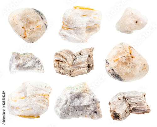 set of various Baryte (Barite) rocks isolated Canvas Print