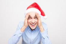 Funny Guy In Santa Claus Hat, ...
