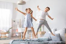 Happy Children Having Fun In B...