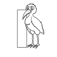 Animal Alphabet. Capital Letter I, Ibis. Vector Illustration. For Pre School Education, Kindergarten And Foreign Language Learning For Kids And Children. Coloring Page And Books, Zoo Topic.