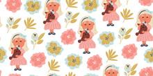 Seamless Pattern - Girl Huggin...