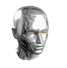Silver Face Isolated