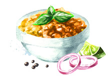 Vegetarian Indian Red Lentil Dal. Hand Drawn Watercolor Illustration  Isolated On White Background