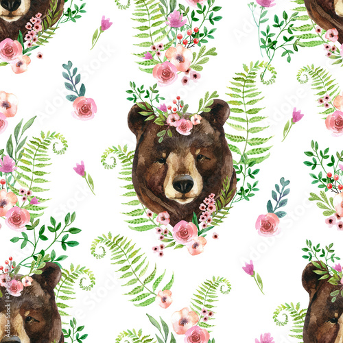 Cute watercolor bear portrait in floral wreath on wild flowers background Canvas Print