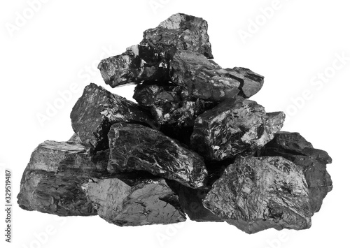 Pile of coal isolated on a white background close-up. Canvas