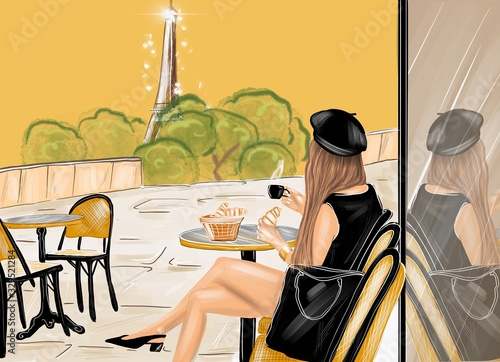 Obraz Illustration of a woman dressed in black having a french breakfast with coffee and croissant at the cafe terrace with eiffel tower on the background - fototapety do salonu